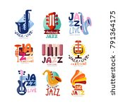 logos set for jazz festival or... | Shutterstock .eps vector #791364175