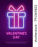 happy valentine's day. neon... | Shutterstock .eps vector #791365822