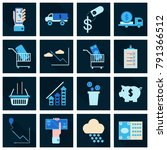set of business simple icons.... | Shutterstock .eps vector #791366512
