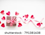 gift box with a pink tape and a ... | Shutterstock . vector #791381638