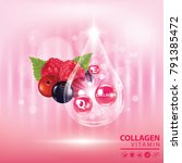berries collagen vitamin banner ... | Shutterstock .eps vector #791385472