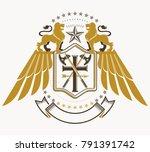 old style heraldry  heraldic... | Shutterstock .eps vector #791391742
