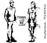 vector woman and man fashion | Shutterstock .eps vector #791392912