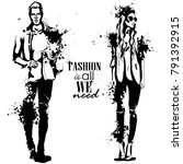 vector woman and man fashion | Shutterstock .eps vector #791392915