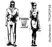 vector woman and man fashion | Shutterstock .eps vector #791392918