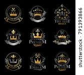 royal crowns emblems set.... | Shutterstock .eps vector #791393866