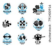 vector power lifting theme... | Shutterstock .eps vector #791400916
