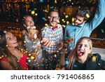 group of people having a party | Shutterstock . vector #791406865