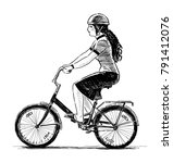 young woman rides a bicycle | Shutterstock . vector #791412076