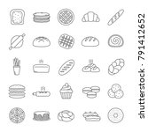 bakery linear icons set. pastry.... | Shutterstock .eps vector #791412652