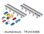 set of isometric highways ... | Shutterstock .eps vector #791415088