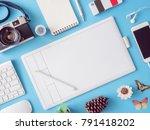 top view office desk workspace...   Shutterstock . vector #791418202