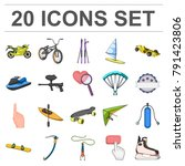 extreme sport cartoon icons in... | Shutterstock .eps vector #791423806