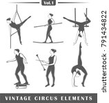 set of elements of the circus... | Shutterstock .eps vector #791434822