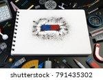 top view of science equipment ... | Shutterstock . vector #791435302