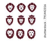 super mega collection lion face ...   Shutterstock .eps vector #791442316