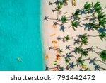 aerial view of caribbean resort ... | Shutterstock . vector #791442472