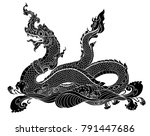 hand drawn thai dragon on water ... | Shutterstock .eps vector #791447686