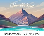 unbelievable mountain landscape.... | Shutterstock .eps vector #791449492