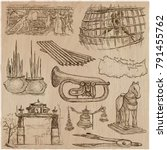 an hand drawn vector collection.... | Shutterstock .eps vector #791455762