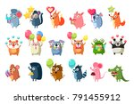 animals with party elements set | Shutterstock .eps vector #791455912