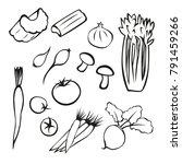 vector vegetables black and... | Shutterstock .eps vector #791459266
