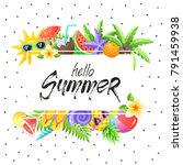 tropical summer objects in... | Shutterstock .eps vector #791459938