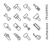 line icon set of carpentry...
