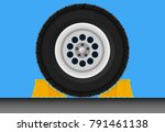 wheel chock car parking brake... | Shutterstock .eps vector #791461138