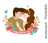 men and woman with pretty... | Shutterstock .eps vector #791462842