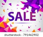 vector sale faceted 3d banner... | Shutterstock .eps vector #791462902