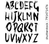 handdrawn dry brush font.... | Shutterstock .eps vector #791471476