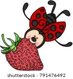 ladybug flying with a... | Shutterstock .eps vector #791476492