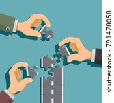 hands fold the road from pieces ... | Shutterstock .eps vector #791478058