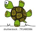 cute turtle standing  | Shutterstock .eps vector #791480386