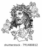 son of god jesus christ. tatto... | Shutterstock .eps vector #791480812