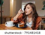 portrait of a satisfied woman... | Shutterstock . vector #791481418