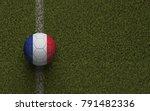 france flag football on a green ... | Shutterstock . vector #791482336