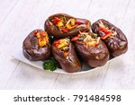 pickled stuffed eggplant with... | Shutterstock . vector #791484598