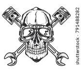 isolated skull in vintage... | Shutterstock .eps vector #791488282