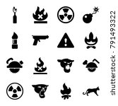 dangerous icons. set of 16... | Shutterstock .eps vector #791493322