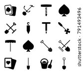 Spade Icons. Set Of 16 Editabl...
