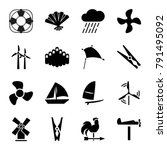 wind icons. set of 16 editable... | Shutterstock .eps vector #791495092