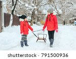 new year holidays with children ... | Shutterstock . vector #791500936