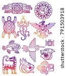 colorful american aztec  mayan... | Shutterstock .eps vector #791503918