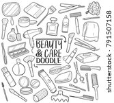 beauty and care tools... | Shutterstock .eps vector #791507158