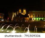 York Night Scene With Spotlit...