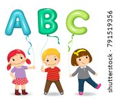 cartoon kids holding letter abc ... | Shutterstock .eps vector #791519356