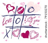 tic tac toe hearts  valentine... | Shutterstock .eps vector #79153270