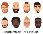 cartoon hipsters bearded men... | Shutterstock .eps vector #791546005
